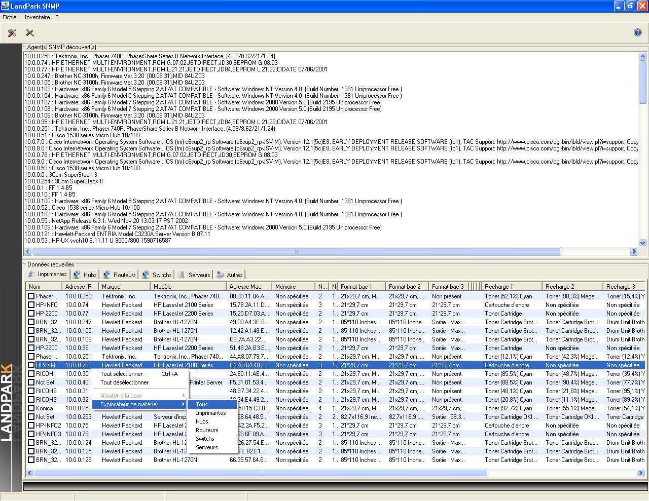 LANDPARK SNMP screenshot